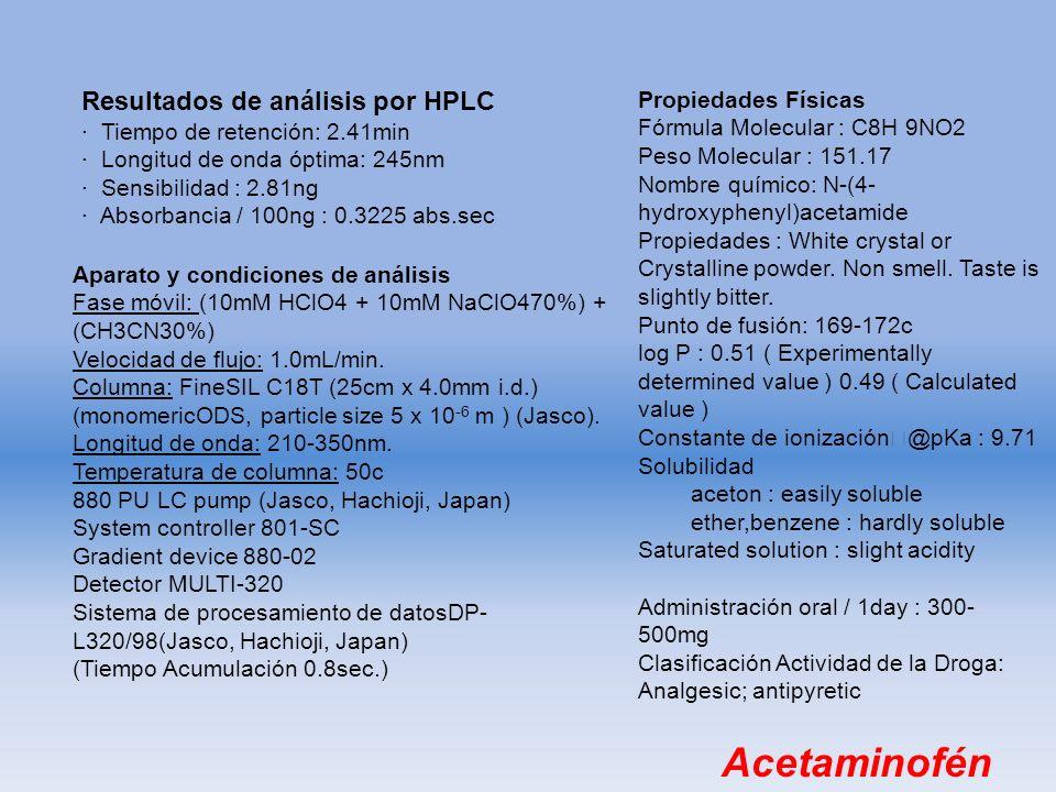 Acetaminofén Resultados de análisis por HPLC Propiedades Físicas