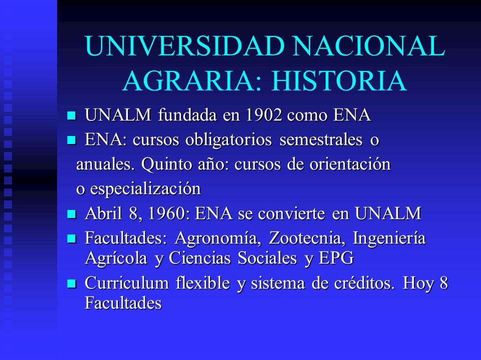 UNIVERSIDAD NACIONAL AGRARIA: HISTORIA