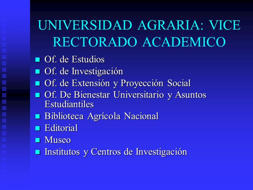 UNIVERSIDAD AGRARIA: VICE RECTORADO ACADEMICO