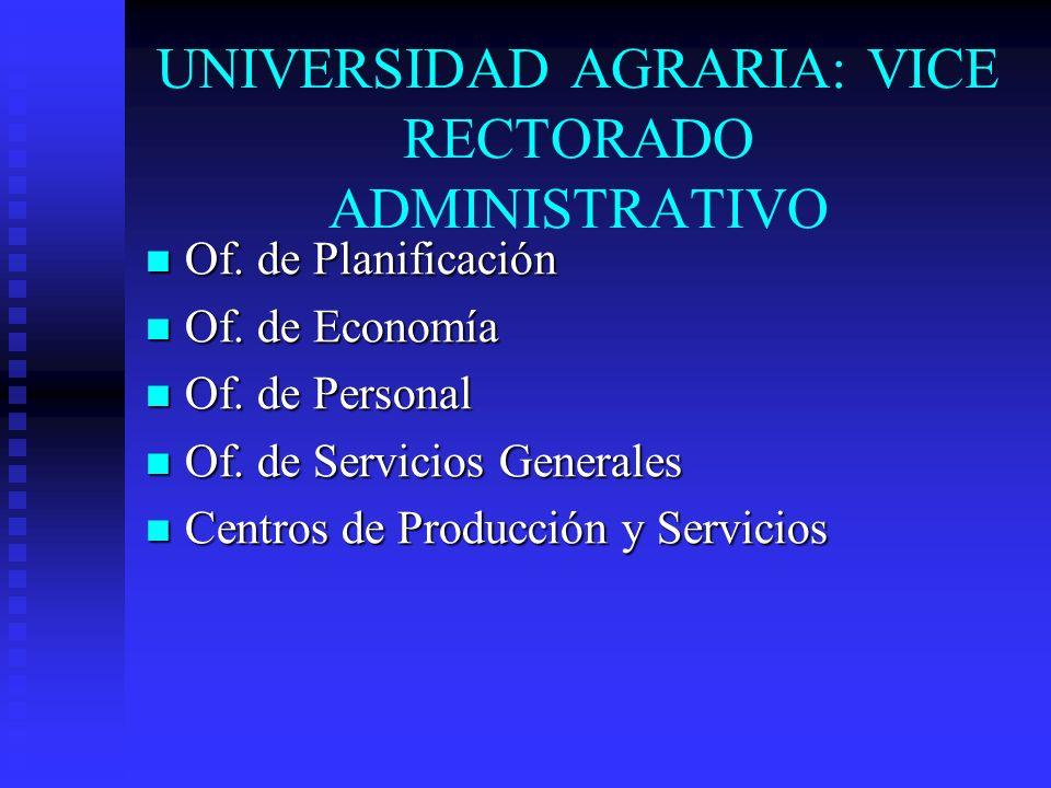 UNIVERSIDAD AGRARIA: VICE RECTORADO ADMINISTRATIVO
