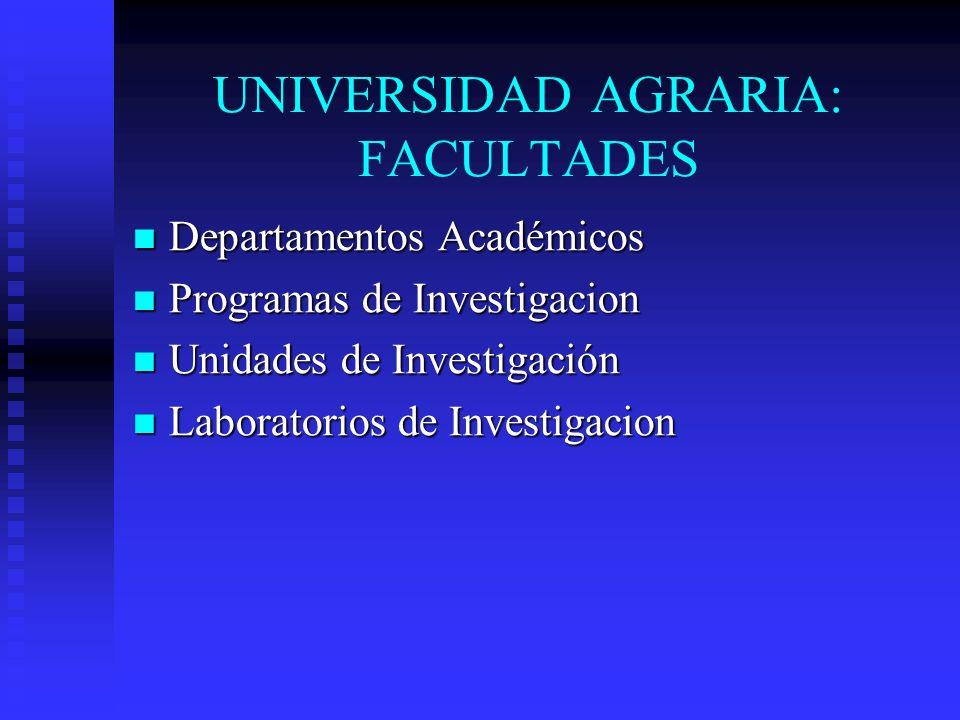 UNIVERSIDAD AGRARIA: FACULTADES