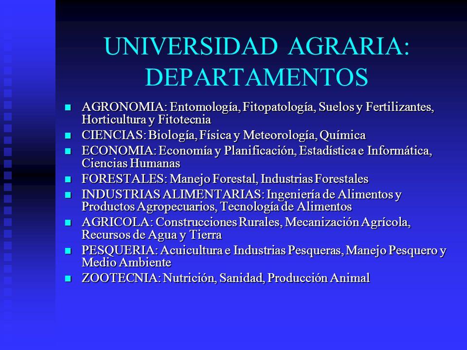 UNIVERSIDAD AGRARIA: DEPARTAMENTOS