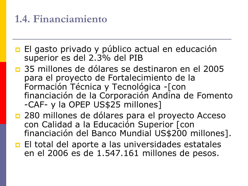1.4. Financiamiento El gasto privado y público actual en educación superior es del 2.3% del PIB.