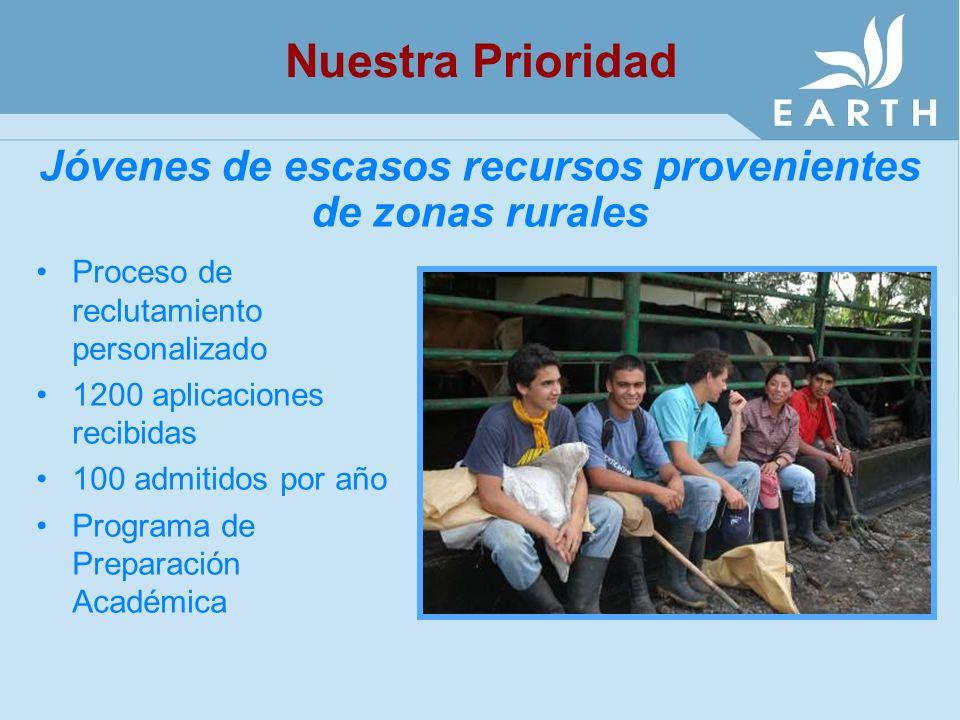 Jóvenes de escasos recursos provenientes de zonas rurales