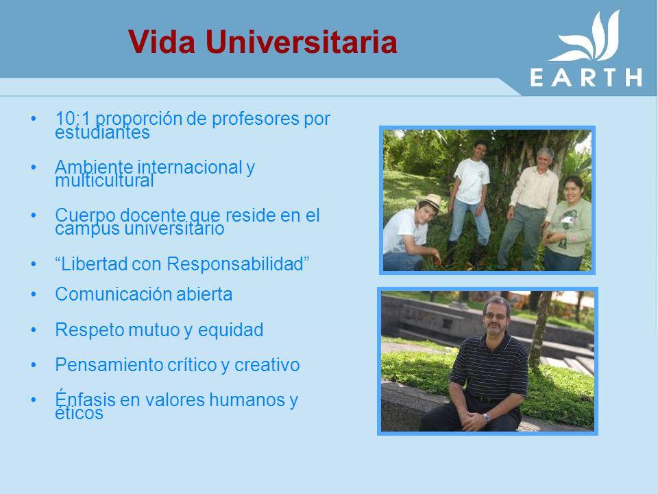 Vida Universitaria 10:1 proporción de profesores por estudiantes