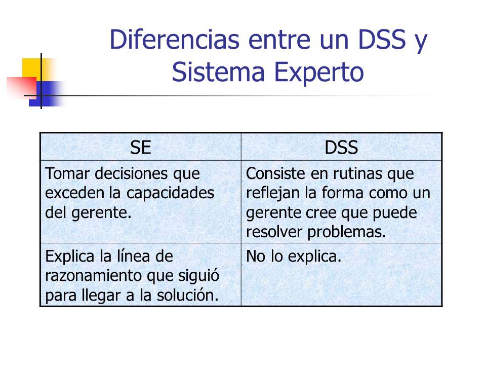 Diferencias entre un DSS y Sistema Experto