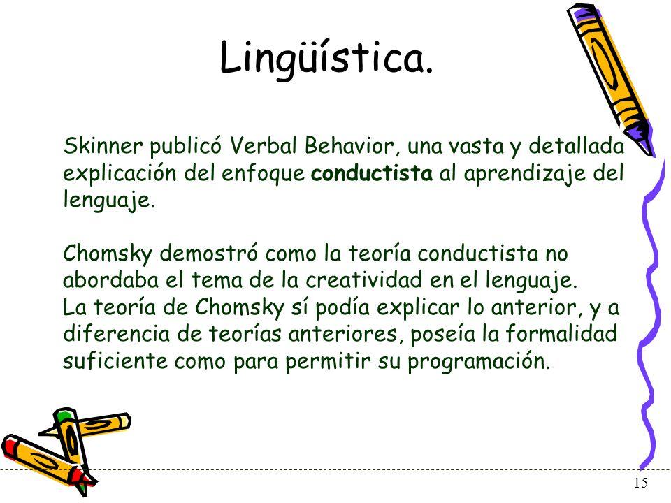 Lingüística. Skinner publicó Verbal Behavior, una vasta y detallada explicación del enfoque conductista al aprendizaje del lenguaje.