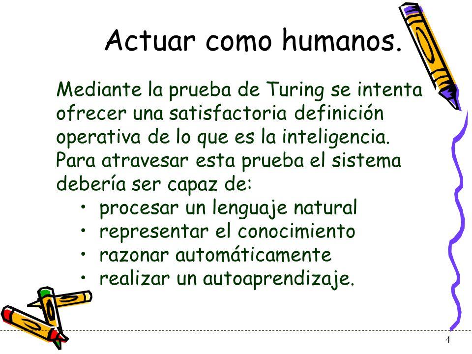 Actuar como humanos. Mediante la prueba de Turing se intenta ofrecer una satisfactoria definición operativa de lo que es la inteligencia.