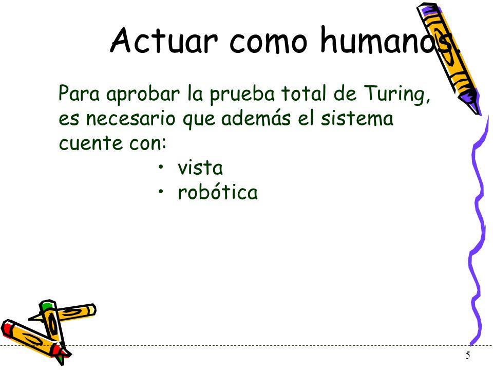 Actuar como humanos. Para aprobar la prueba total de Turing, es necesario que además el sistema cuente con: