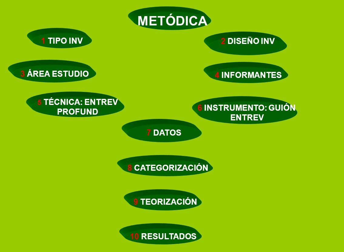 METÓDICA 1 TIPO INV 2 DISEÑO INV 3 ÁREA ESTUDIO 4 INFORMANTES PROFUND