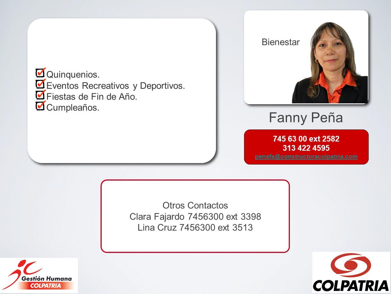 Fanny Peña Bienestar Quinquenios. Eventos Recreativos y Deportivos.