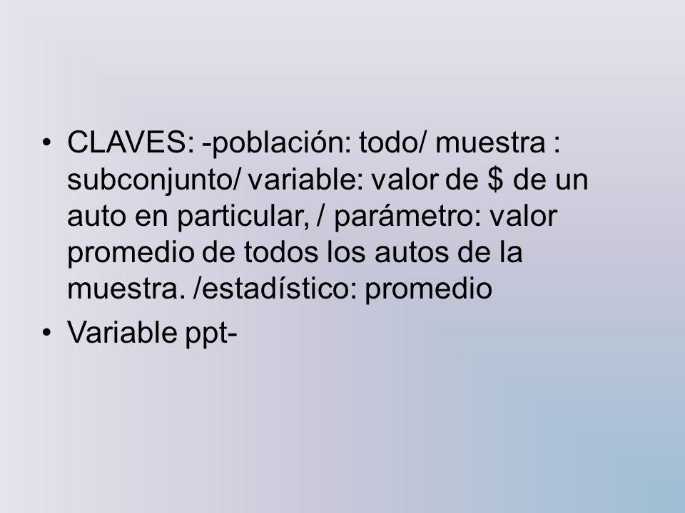 CLAVES: -población: todo/ muestra : subconjunto/ variable: valor de $ de un auto en particular, / parámetro: valor promedio de todos los autos de la muestra. /estadístico: promedio
