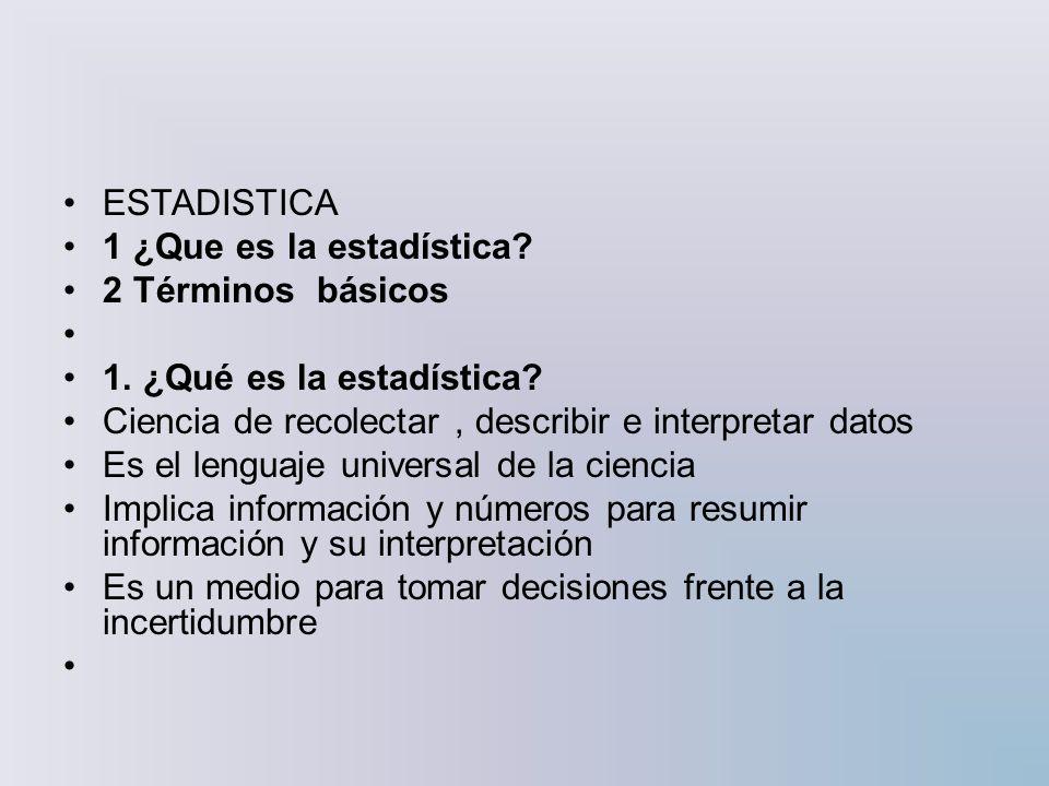 ESTADISTICA 1 ¿Que es la estadística 2 Términos básicos. 1. ¿Qué es la estadística Ciencia de recolectar , describir e interpretar datos.