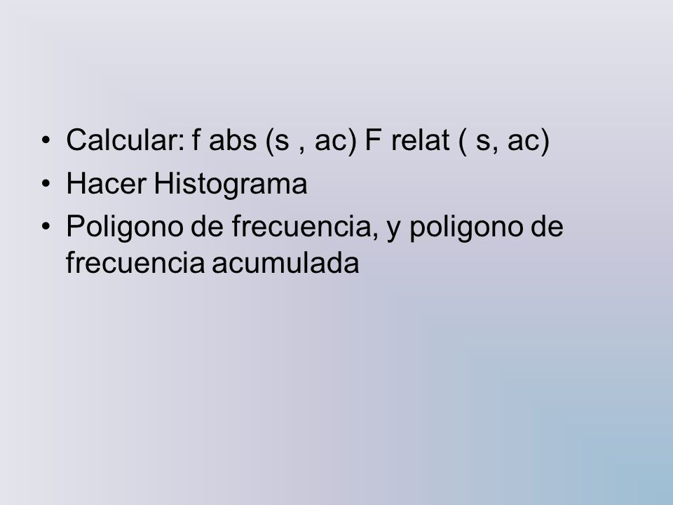 Calcular: f abs (s , ac) F relat ( s, ac)