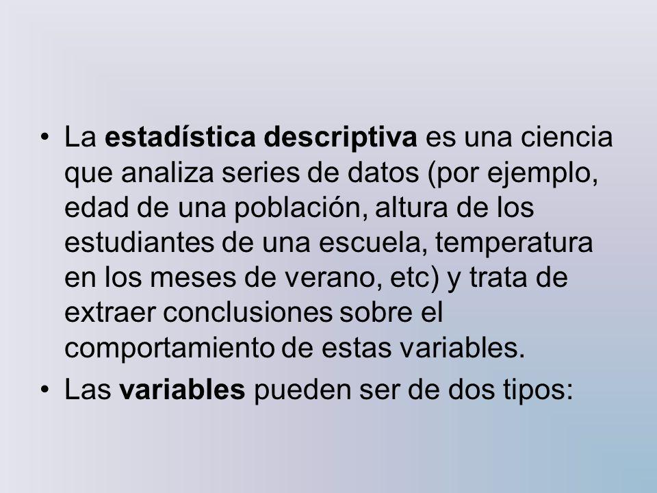 La estadística descriptiva es una ciencia que analiza series de datos (por ejemplo, edad de una población, altura de los estudiantes de una escuela, temperatura en los meses de verano, etc) y trata de extraer conclusiones sobre el comportamiento de estas variables.