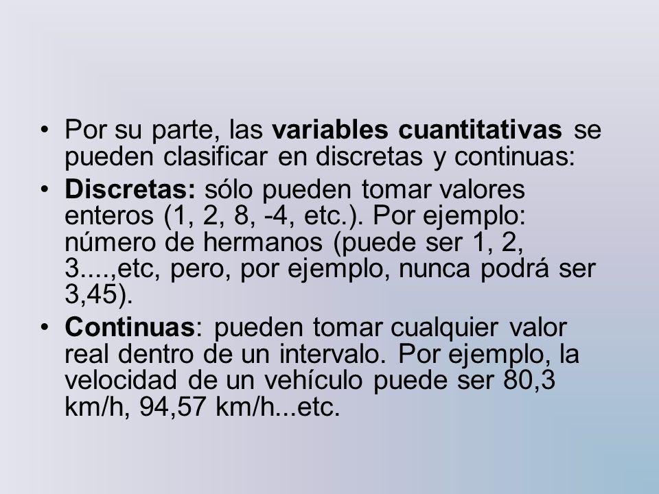Por su parte, las variables cuantitativas se pueden clasificar en discretas y continuas:
