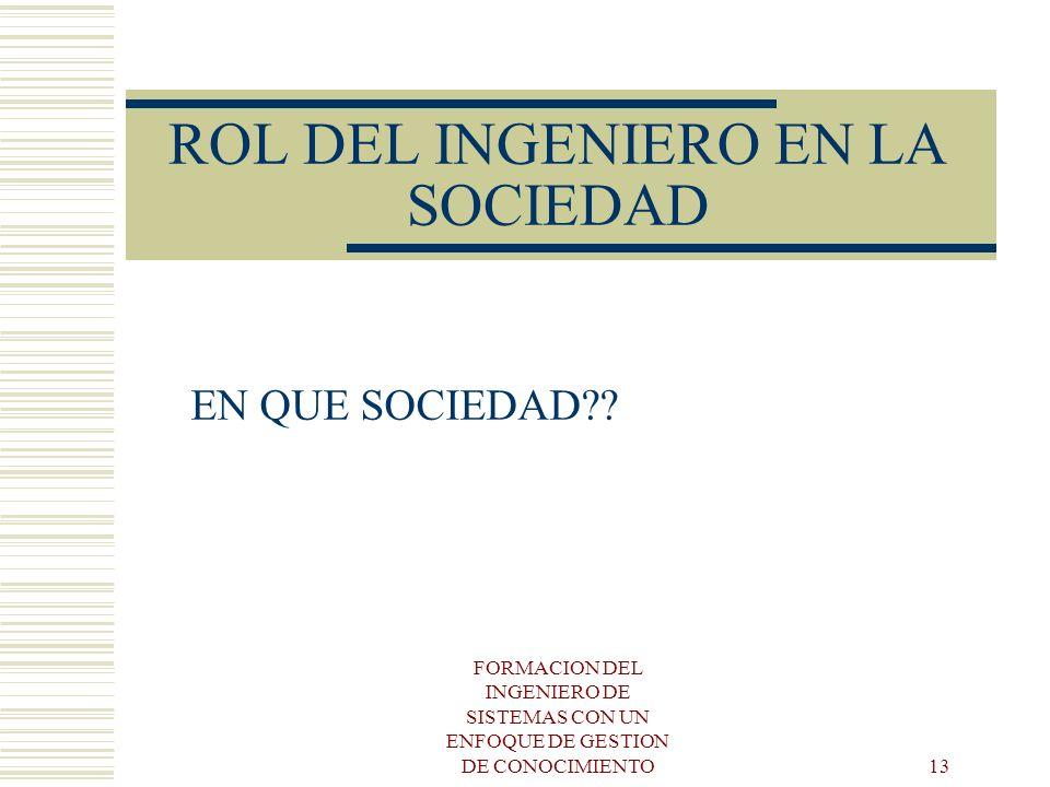 ROL DEL INGENIERO EN LA SOCIEDAD