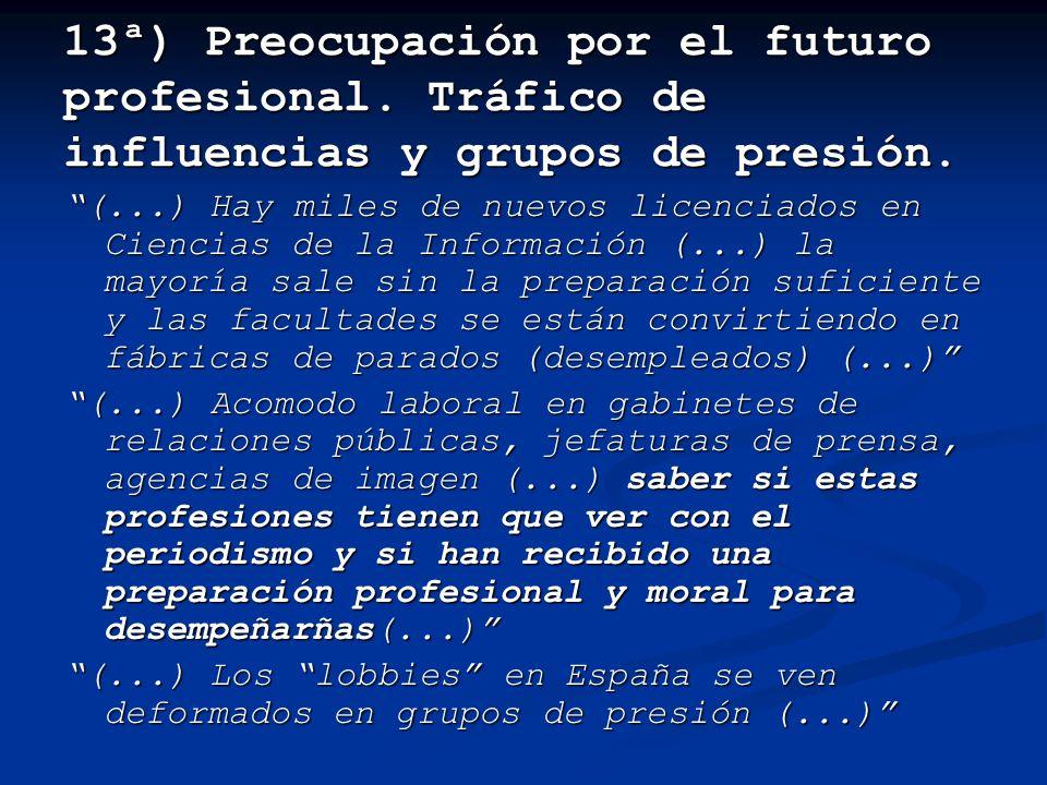 13ª) Preocupación por el futuro profesional