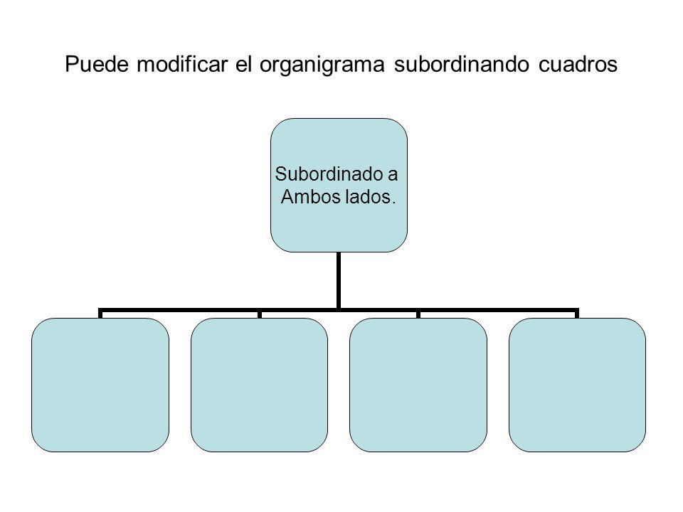 Puede modificar el organigrama subordinando cuadros