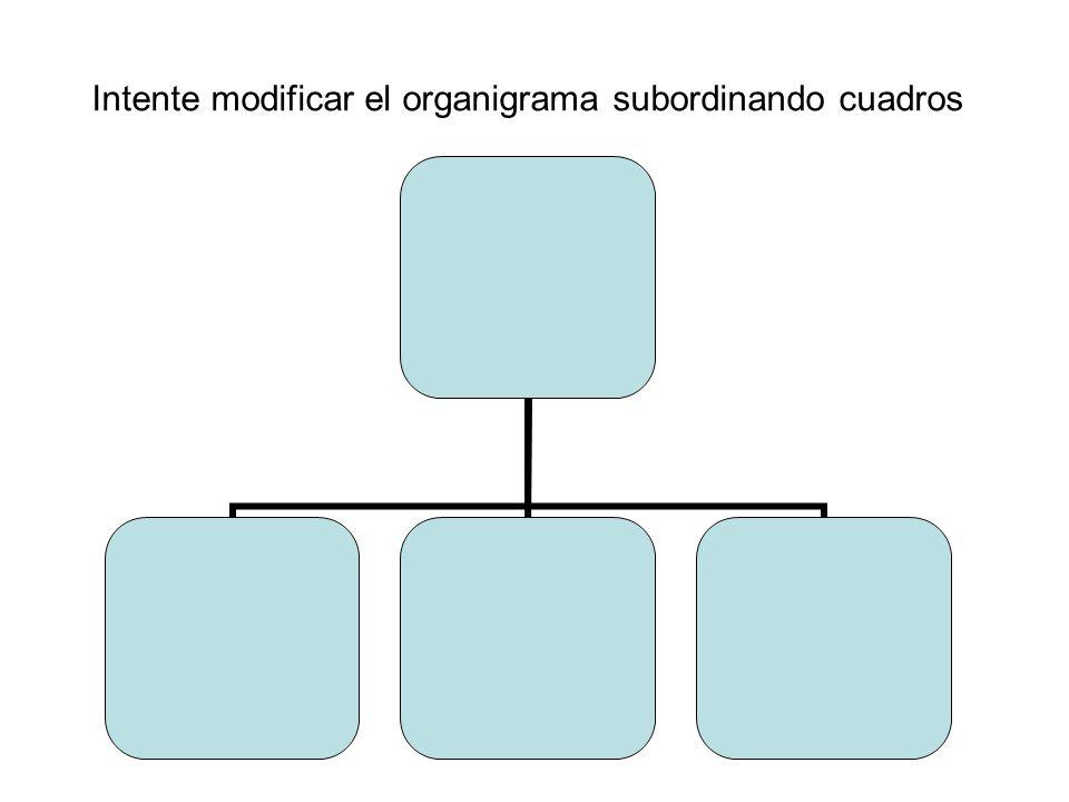 Intente modificar el organigrama subordinando cuadros