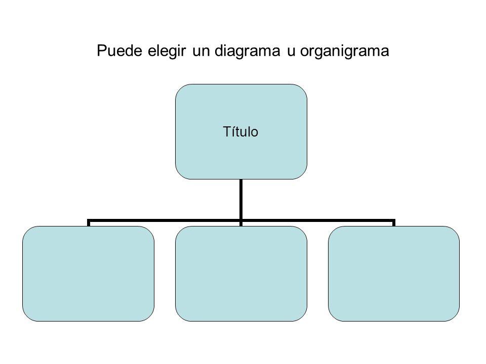 Puede elegir un diagrama u organigrama