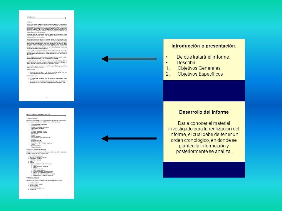Introducción o presentación: Desarrollo del Informe