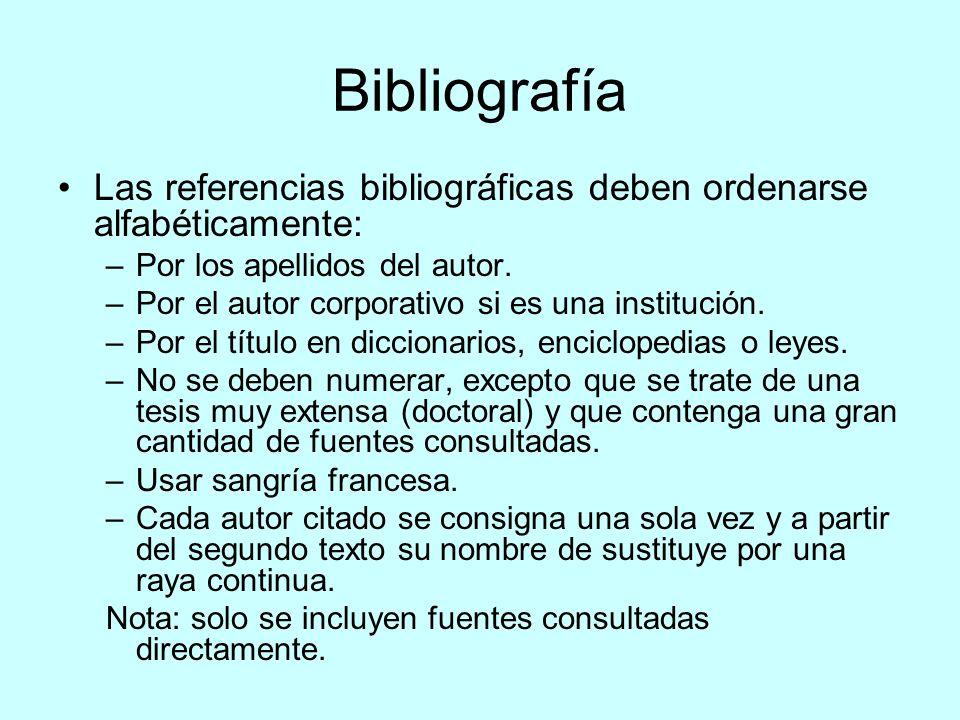 BibliografíaLas referencias bibliográficas deben ordenarse alfabéticamente: Por los apellidos del autor.