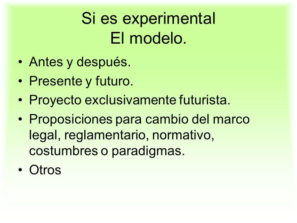 Si es experimental El modelo.