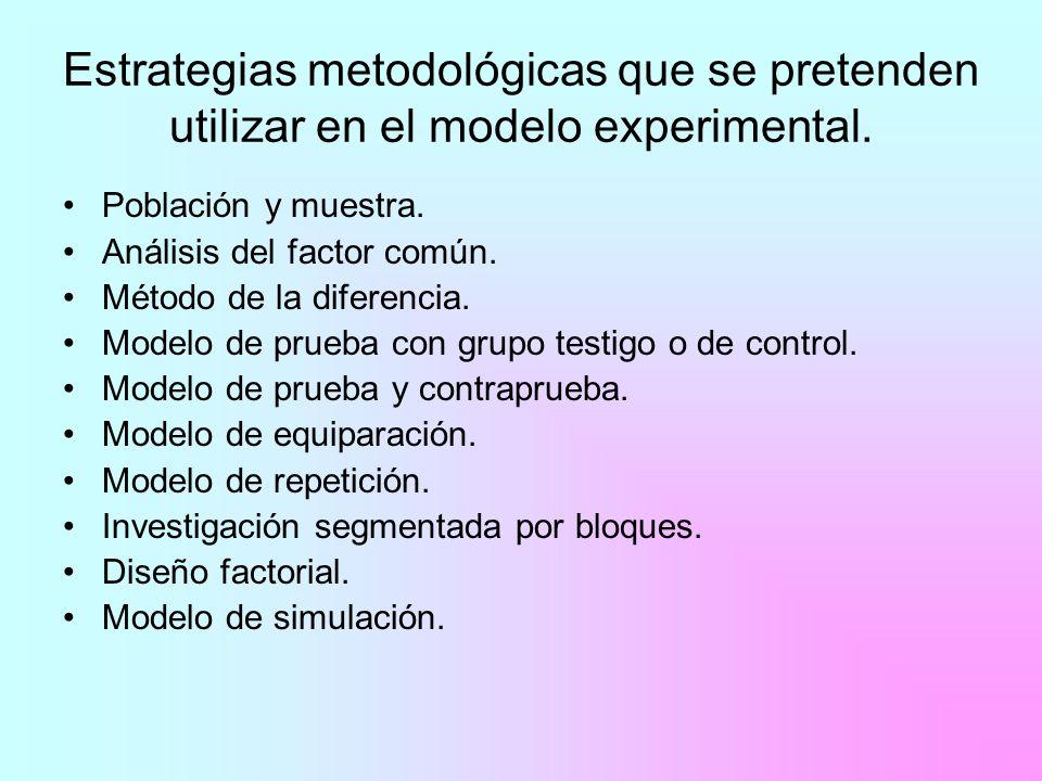 Estrategias metodológicas que se pretenden utilizar en el modelo experimental.