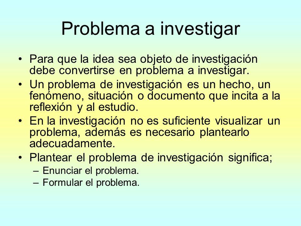 Problema a investigar Para que la idea sea objeto de investigación debe convertirse en problema a investigar.