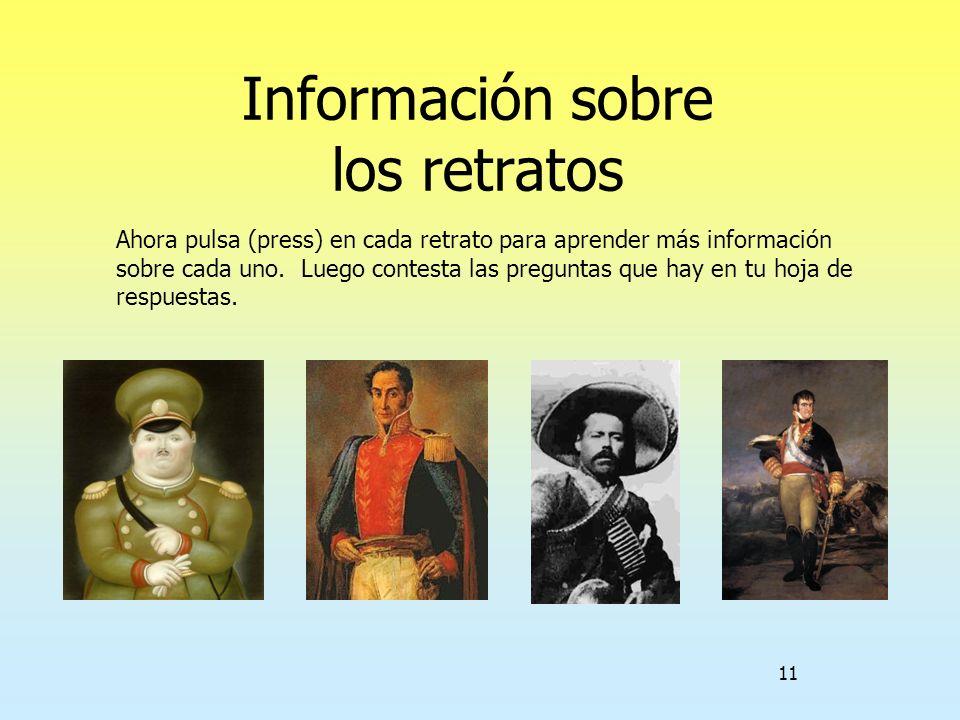 Información sobre los retratos