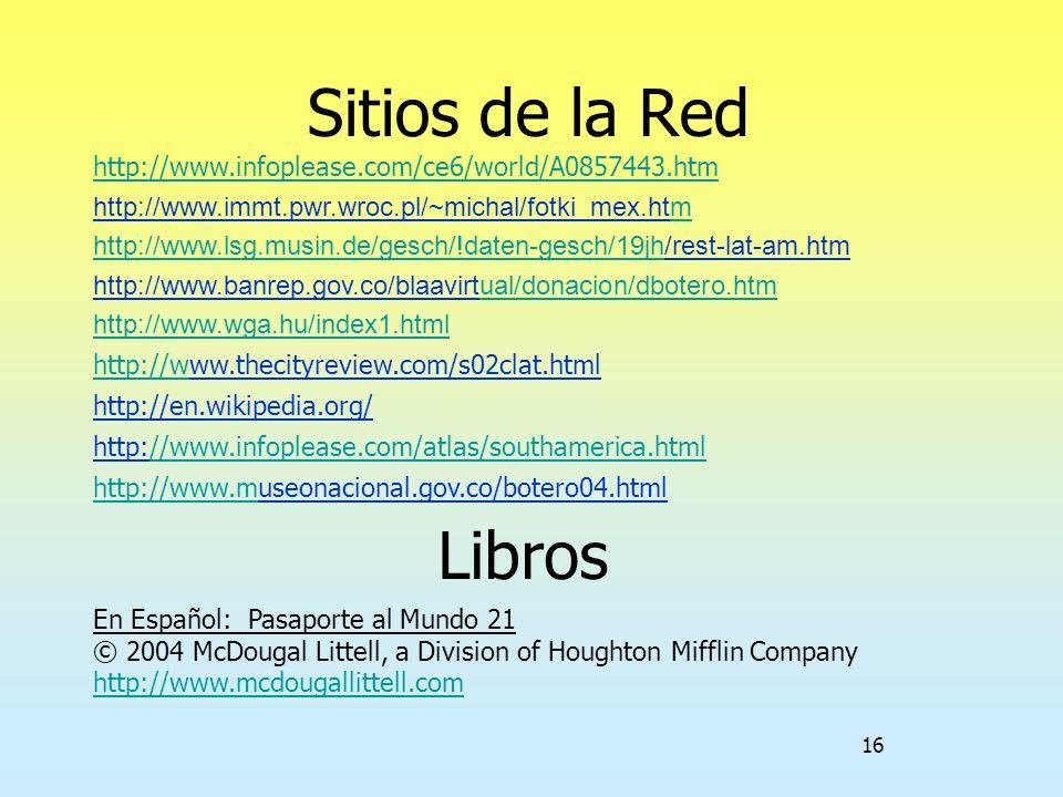 Sitios de la Red http://www.infoplease.com/ce6/world/A0857443.htm. http://www.immt.pwr.wroc.pl/~michal/fotki_mex.htm.