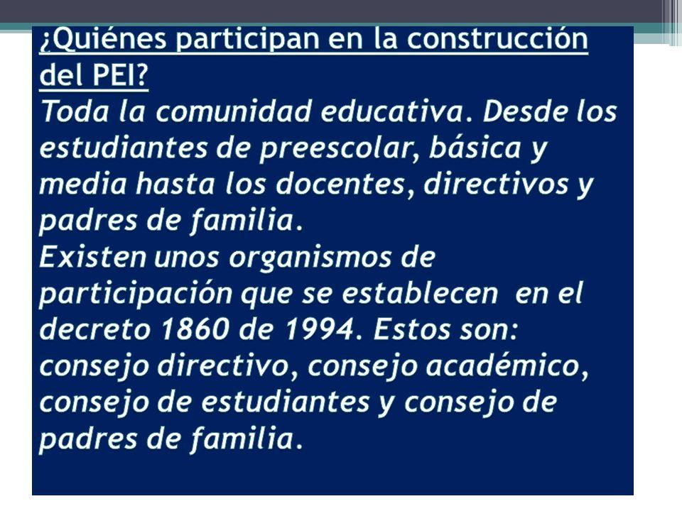 ¿Quiénes participan en la construcción del PEI