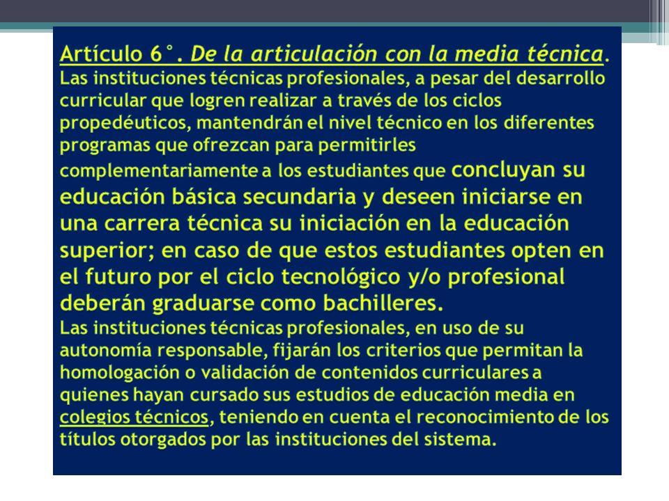 Artículo 6°. De la articulación con la media técnica