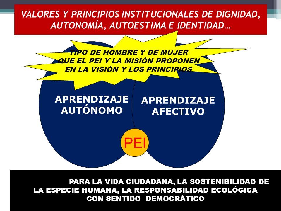 VALORES Y PRINCIPIOS INSTITUCIONALES DE DIGNIDAD, AUTONOMÍA, AUTOESTIMA E IDENTIDAD…