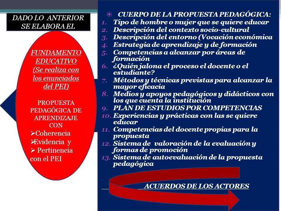 CUERPO DE LA PROPUESTA PEDAGÓGICA: