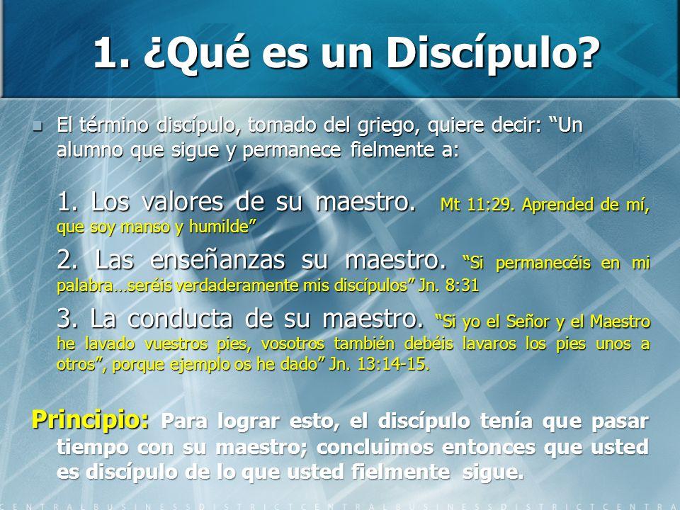 1. ¿Qué es un Discípulo El término discípulo, tomado del griego, quiere decir: Un alumno que sigue y permanece fielmente a: