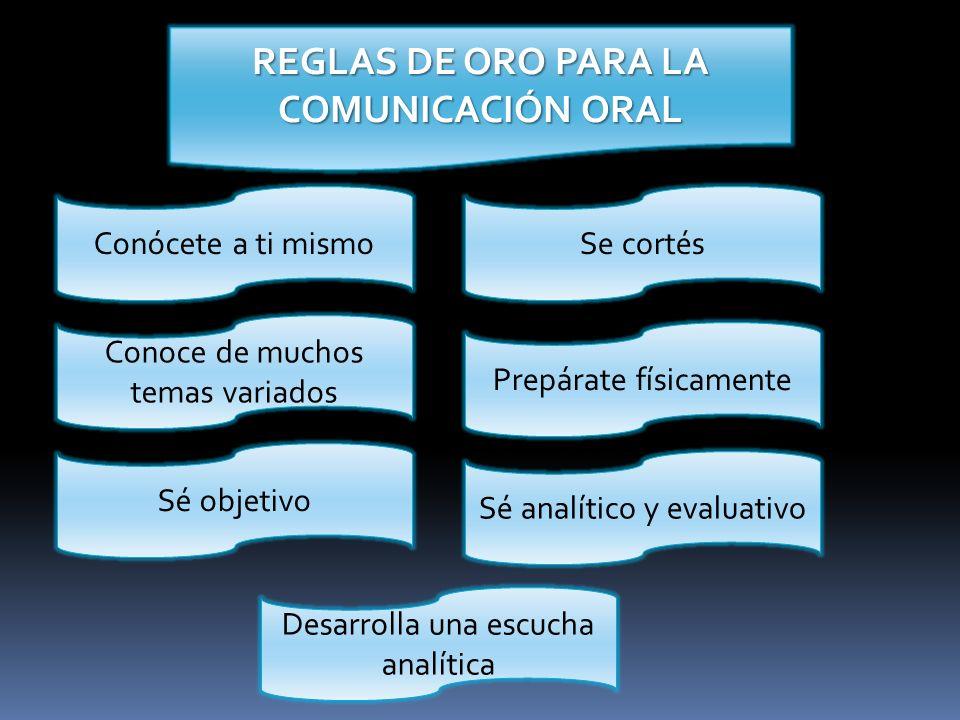 REGLAS DE ORO PARA LA COMUNICACIÓN ORAL