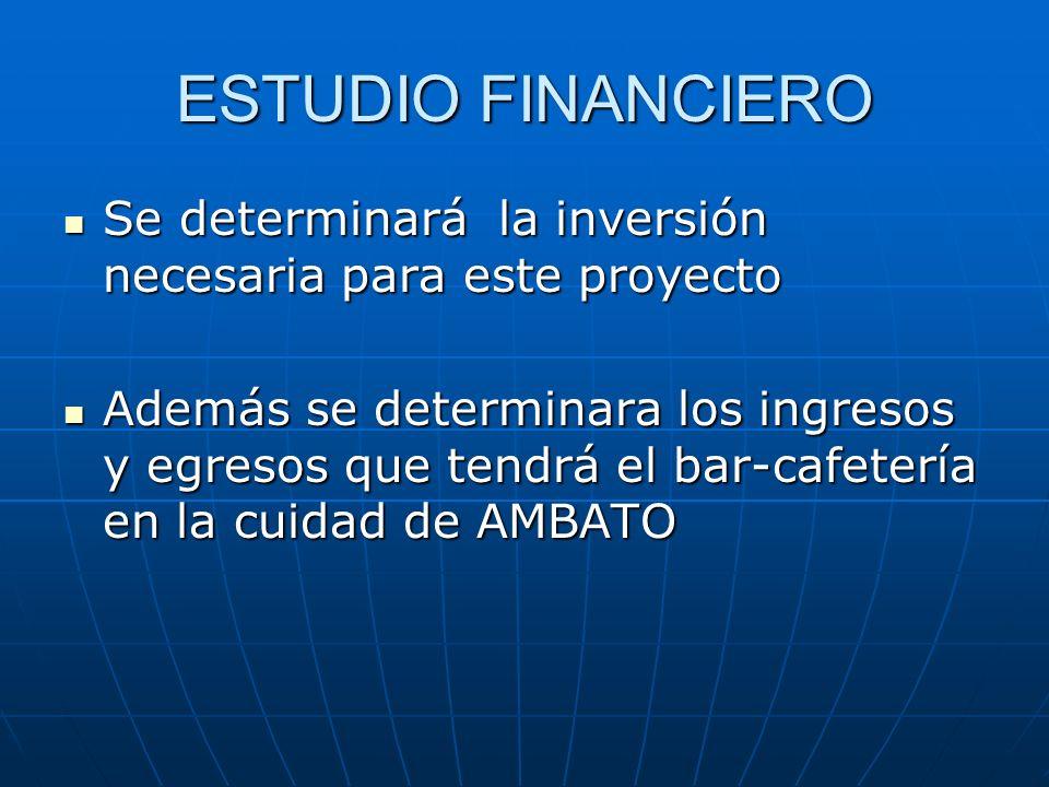 ESTUDIO FINANCIERO Se determinará la inversión necesaria para este proyecto.