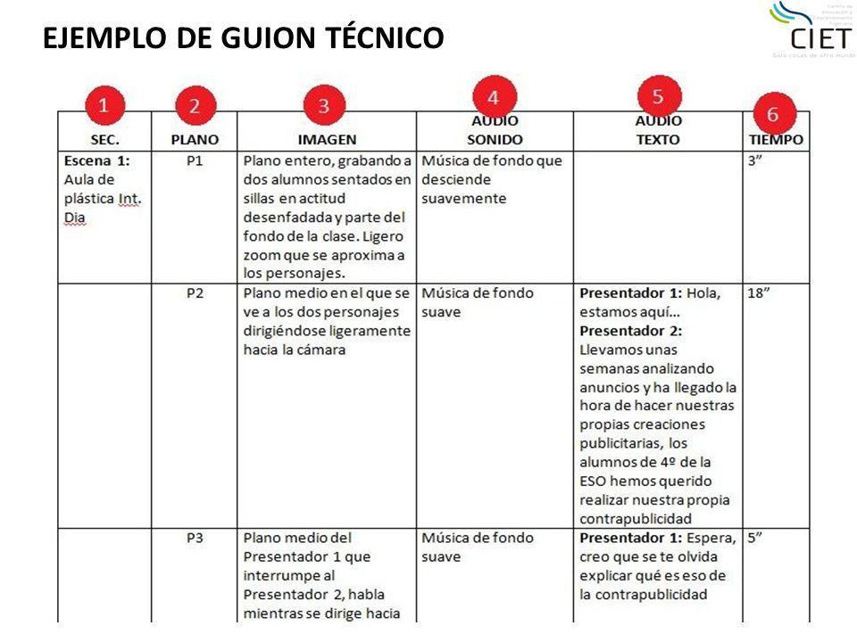 EJEMPLO DE GUION TÉCNICO