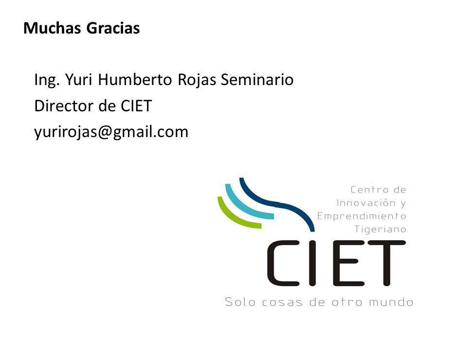 Muchas Gracias Ing. Yuri Humberto Rojas Seminario Director de CIET yurirojas@gmail.com