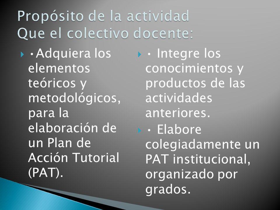 Propósito de la actividad Que el colectivo docente: