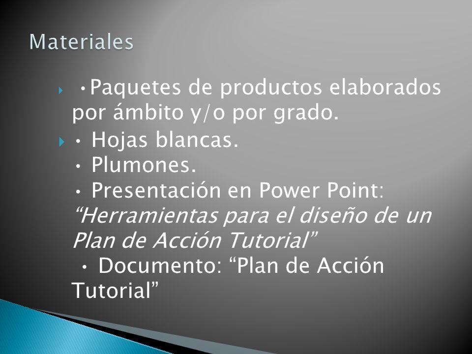 Materiales •Paquetes de productos elaborados por ámbito y/o por grado.
