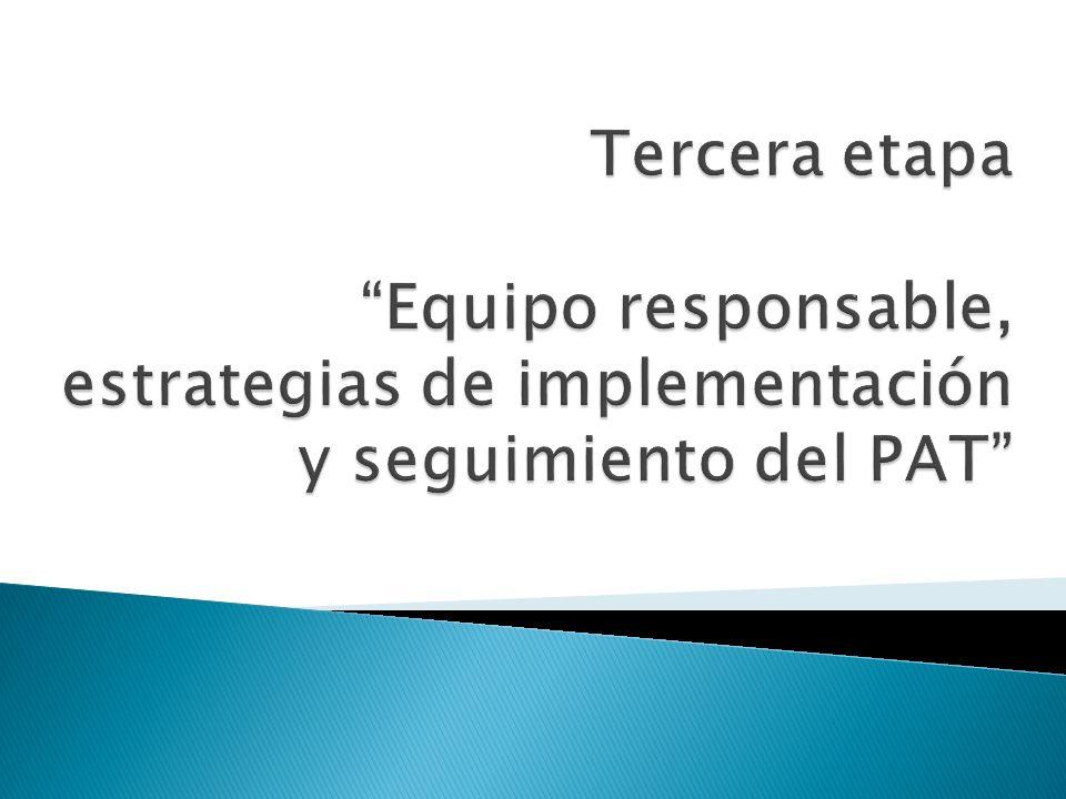 Tercera etapa Equipo responsable, estrategias de implementación y seguimiento del PAT