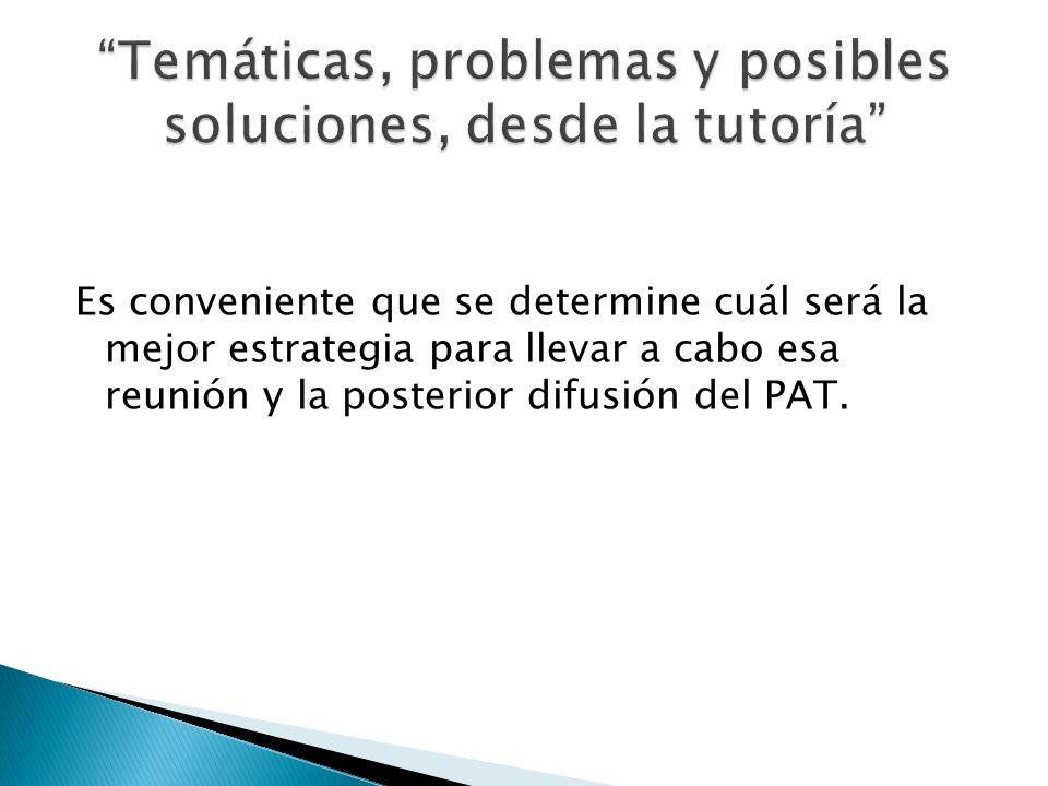 Temáticas, problemas y posibles soluciones, desde la tutoría