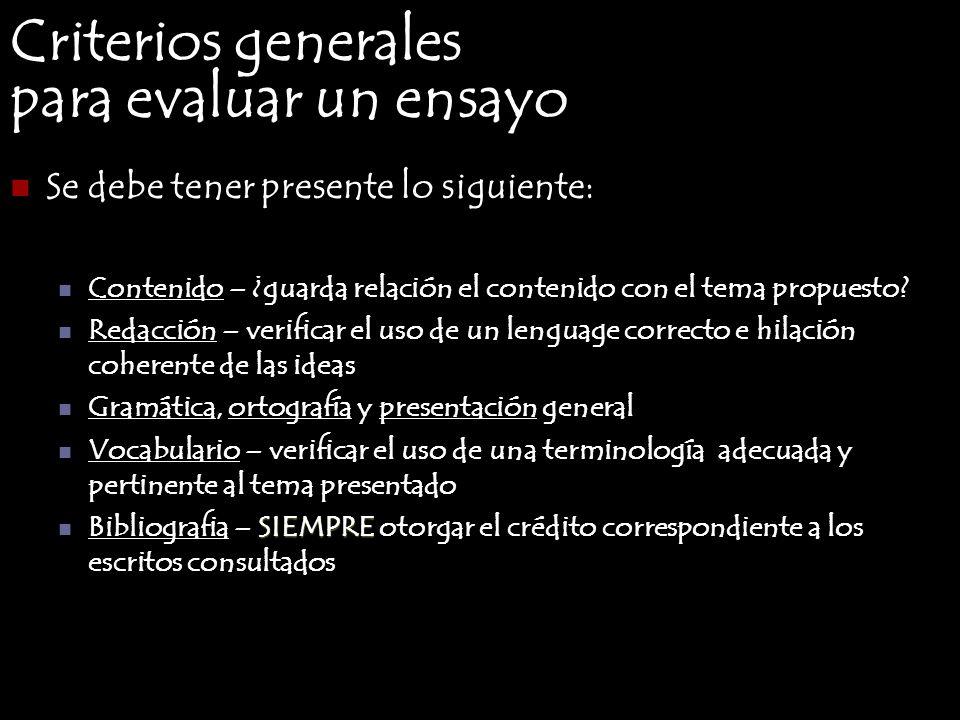 Criterios generales para evaluar un ensayo