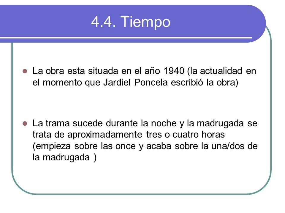 4.4. Tiempo La obra esta situada en el año 1940 (la actualidad en el momento que Jardiel Poncela escribió la obra)