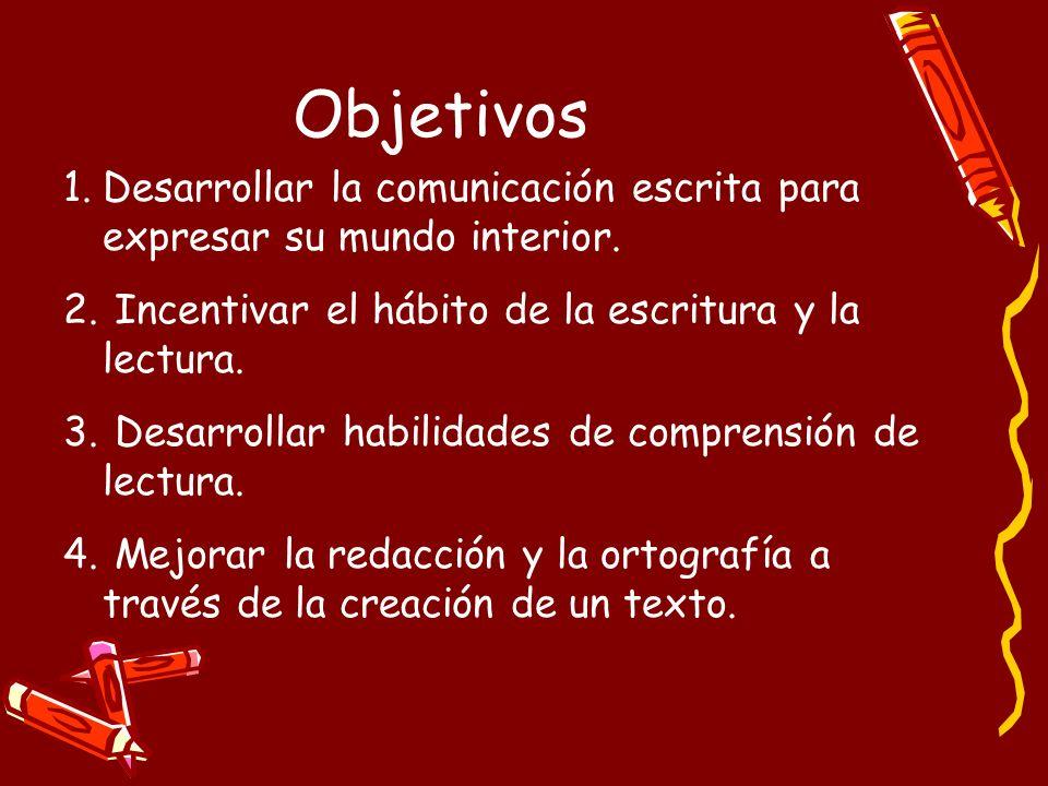 Objetivos Desarrollar la comunicación escrita para expresar su mundo interior. Incentivar el hábito de la escritura y la lectura.