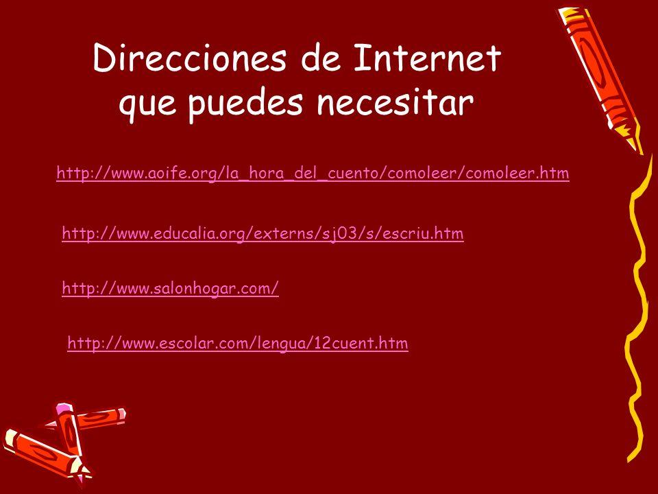 Direcciones de Internet que puedes necesitar