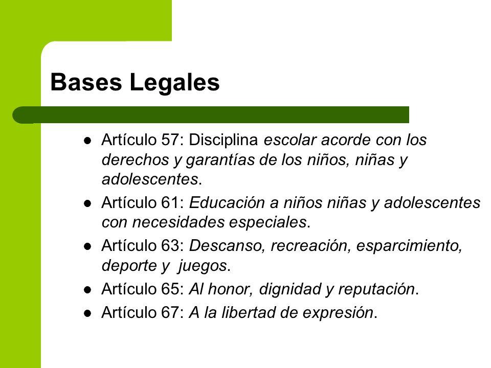 Bases Legales Artículo 57: Disciplina escolar acorde con los derechos y garantías de los niños, niñas y adolescentes.